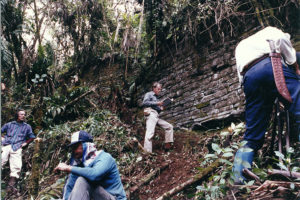 Clearing ruins at Gran Vilaya circa 1990
